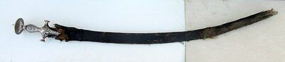 Antique Old Iron Blade Hand Carved Indo Mughal Parisian Sword Silver Work Hilt