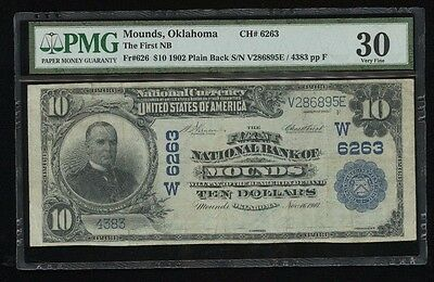 1902 $10 PB The First National Bank of Mounds, Oklahoma W6263 – PMG VF30