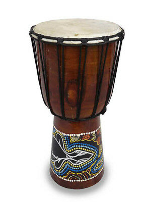 DJEMBE/BONGO /DRUMS,GOAT SKIN.HARD WOOD.FAIRTRADE (40cm tall, painted)