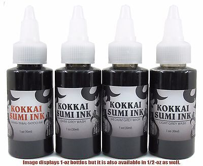 Kokkai Sumi 1/2oz Black & Grey 4-Pack Set: (1) Lining Ink & (3) Gray Wash Tattoo