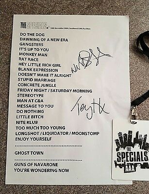 the specials geniune signed set list from 2009 comeback tour ..southend  ..hall