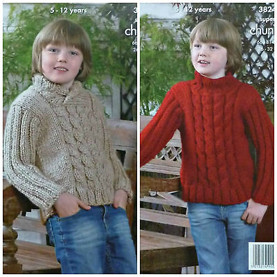 KNITTING PATTERN Childrens Cross Neck &Round Neck Cable Jumper Super Chunky 3824