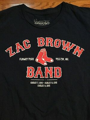 Zac Brown Band Fenway Park Boston Adult Small T-shirt Red Sox August 7-9 2015 15