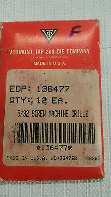 """5/32"""" Vermont Tools Screw Machine High Speed Steel Drill Bits Made In Usa"""
