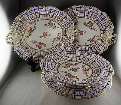 4 Pcs Paris Porcelain Pink & Blue Plaid w/ Floral Center - 2 Trays + 2 Compotes