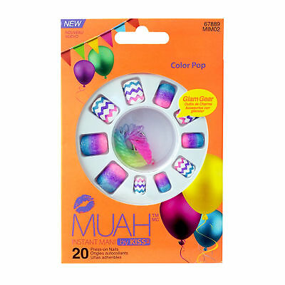 Muah By Kiss Instant Mani 20 Press On Nails #67889 Mim02 Color Pop