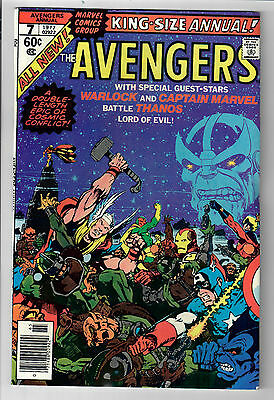 AVENGERS ANNUAL #7 - Grade 9.2 - Early Thanos! 1st Space, Mind & Reality gems!