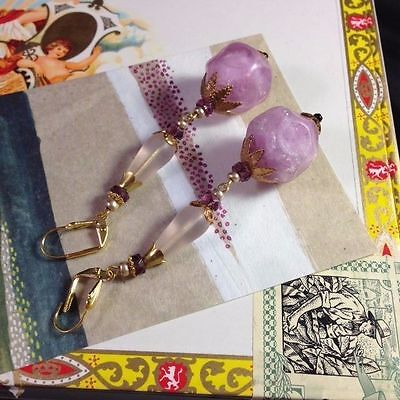 Purple Lavender French Bakelite Celluloid Plastic VTG Earrings Art Deco Nouveau