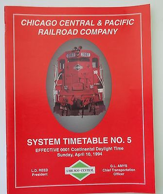 Chicago Central & Pacific Railroad 1994 System Employee Timetable