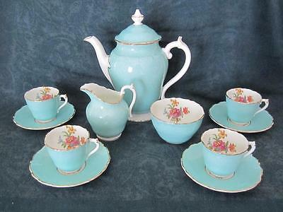 Beautiful Coalport 4 Person Turquoise Floral Bone China Coffee Set
