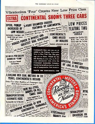 Vintage 1933 Continental Motors Collage Black White Red Color Original Print Ad