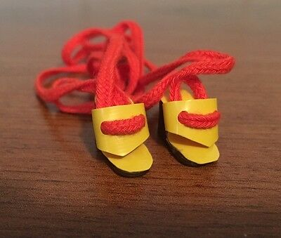 Vintage Rare BARBIE DOLL Yellow Wedge Platform Shoes W/Red Tie Laces Taiwan Pair