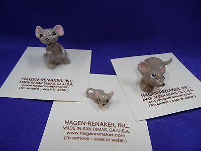 Hagen Renaker Mouse Set of 3 Papa, Mama and Baby Figurine Ceramic Miniature NEW