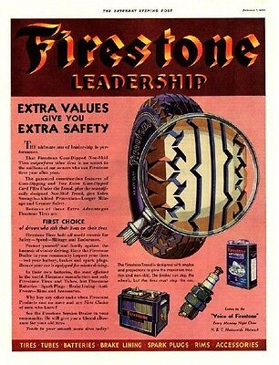 Vintage 1933 Firestone Tires, Batteries, Spark Plugs Color Original Print Ad