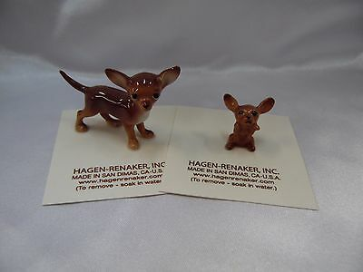 Hagen Renaker Dog Chihuahua Brown Set of 2 Pup and Mama Figurine Miniature NEW