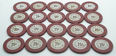 Set of 20 O'Dwyer's 25¢ Casino Chips Clay New Orleans LA  Plain Mold FREE SHIP *