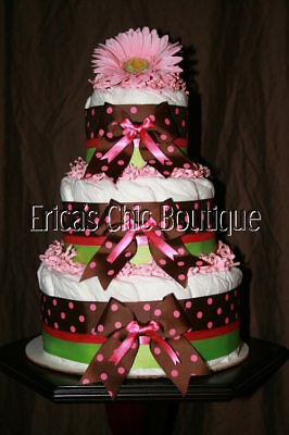 Baby Girl Diaper Cake Brown, Pink, Green Shower Gift