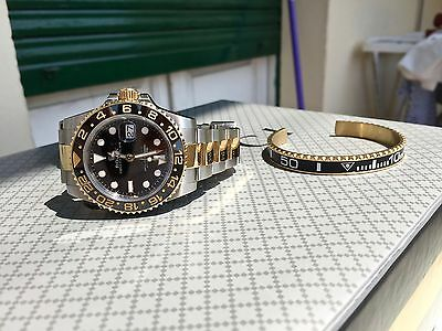 braccialetto come ghiera Rolex GMT Submariner bracciale  color oro fondo scala