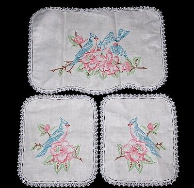 VINTAGE Set of 3 Hand-embroidered Doilies Toppers, Blue Jays & Flowers, CLEAN!