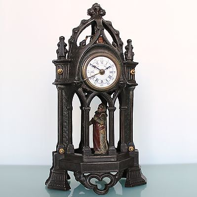 UNUSUAL ANIMATED Alarm/Mantel Clock RARITY French BRONZE Antique FIXED PENDULUM