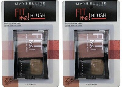2 x MAYBELLINE FIT ME BLUSH 208 MEDIUM NUDE 100% Brand New