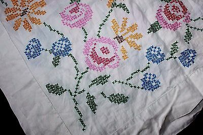 """VINTAGE Cross-Stitched Tablecloth, Pink Blue Yellow Flowers, 50"""" Square CLEAN!!"""