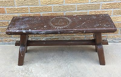 Wooden Bench Stool Pew Monogrammed L Vintage Arts & Crafts Shabby