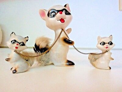 Vintage Raccoon Mama Fur Babies FIGURINE Real Fur Tails Ceramic Adorable
