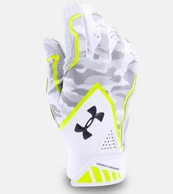 Under Armour UA Yard Undeniable Mens S Batting Gloves Baseball White New Small