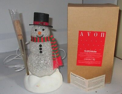 AVON VINTAGE CHILLY SAM LIGHT-UP SNOW MAN WITH BROOM AND BOX needs Bulbs Used