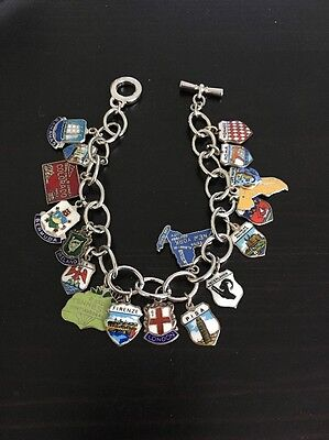 Vintage Silver Plated Travel Shield Charms Bracelet - Europe Caribbean USA Charm