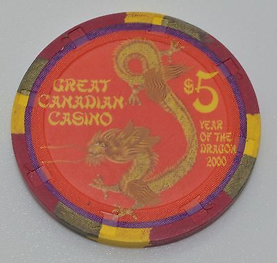Great Canadian $5 Casino Chip British Columbia Canada H&C Paulson FREE SHIPPING