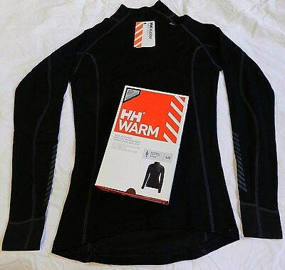 NEW Helly Hansen WARM Freeze w/Wool Base Layer Shirt Top 48543 Women LRG Black