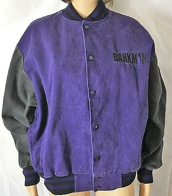 Darkman Universal Studio Movie Set 1990's Varsity Jacket Purple & Black One Size