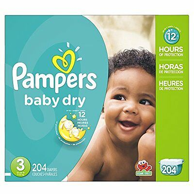 Pampers Baby Dry Diapers Size 3, 204 Count,  NEW  -  FREE SHIPPING