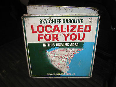 Vintage Sky Chief Texaco Sign - Two Sided Advertising Steel Gas Oil Petroliana