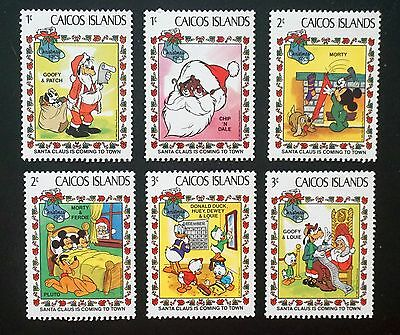 DISNEY   CAICOS ISLANDS set of 6 stamps CHRISTMAS 1983   Goofy Donald Mickey  MH