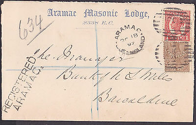 *1897 REGISTERED COVER.ARAMAC to BARCALDINE.Aramac Masonic Lodge to Bank of NSW*