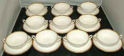 Royal Worcester Viceroy GOLD 10 Double Handle Cream Soup Bowls with Saucers