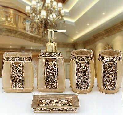 5PCS Resin Bathroom Accessories Set Rome Aristocracy Toothbrush Cup Soap Dish!!
