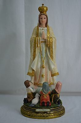 Our Lady Of Fatima & Three Seers 52cm Polyresin Gold Handpainted