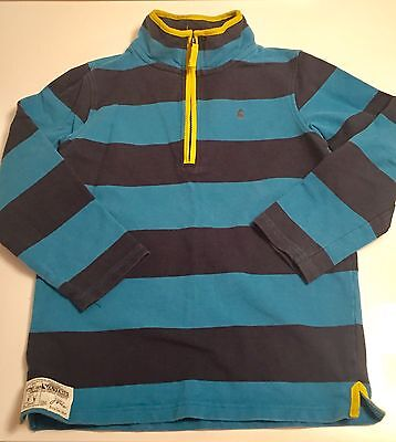 Joules Rugby Boy Size 9-10 Striped Cotton 1/4 Zip Pullover Sweatshirt