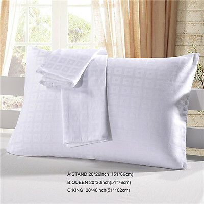 2pc White Satin Pillow Case Hotel Queen King Bed Standard Silky Pillowcase 3Size