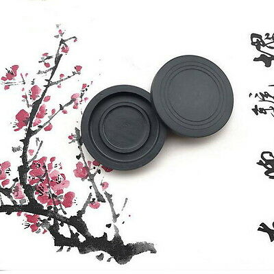 Chinese Calligraphy Ink Stone Round Inkwell Painting Supplies DF