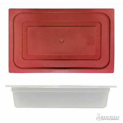 12x Food Pan with Red Lid 1/1 GN 100mm Full Size Polypropylene Gastronorm