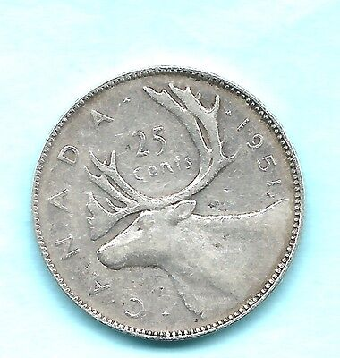 1951 VF/EF Canadian Silver 25 Cents .800 Silver