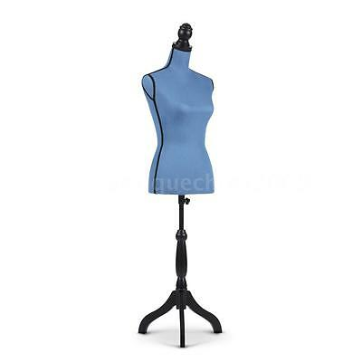 Blue Colour Female Mannequin Torso Dress Form With Solid Wood Tripod Standing