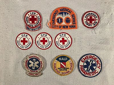 Lot of 10 Vintage Obsolete American Red Cross Life Support First Aid CPR Patches