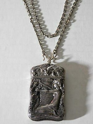 RARE Incredible ART NOUVEAU STERLING MATCH SAFE w/ NUDE, FLOWERS, CRANE & CHAIN