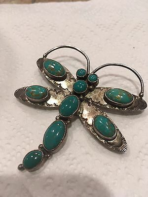 Sterling Silver Turquoise Dragonfly Brooch By Navajo Emma Jean Bighand!!!